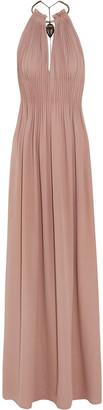 Valentino Gathered Appliqued Silk-crepe Halterneck Maxi Dress