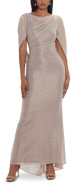 Betsy & Adam Metallic Cape Gown