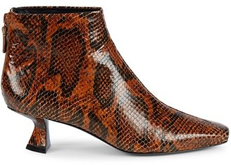 Mercedes Castillo Valerie Snakeskin-Embossed Leather Ankle Boots