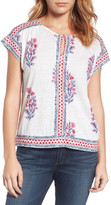 Lucky Brand Wood Block Floral Print Linen Blend Blouse
