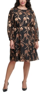 Tommy Hilfiger Plus Size Printed Fit & Flare Dress