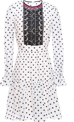 Temperley London Prix Lace-paneled Flocked Cotton-blend Organza Mini Dress