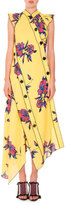 Proenza Schouler Floral-Print Asymmetric Midi Dress, Yellow/Blue