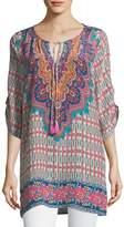 Tolani Jenna Silk Border-Print Tunic, Plus Size