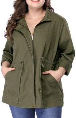 Unique Bargains Women's Plus Size Coat Stand Collar Zip-up Utility Jacket