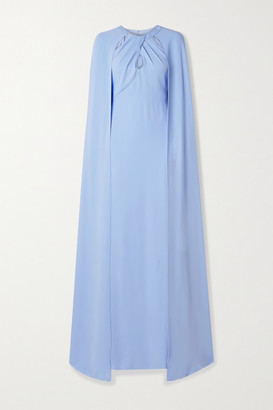Marchesa Notte Cape-effect Cutout Crepe Gown - Sky blue