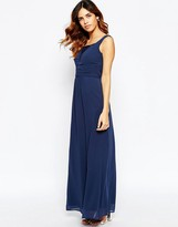 Elise Ryan Ruched Maxi Dress With Plunge Lace Bust