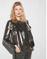 Express metallic foiled chiffon moto jacket
