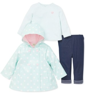 Little Me Baby Girls 3-Pc. Hooded Dot-Print Jacket, Striped Top & Pants Set