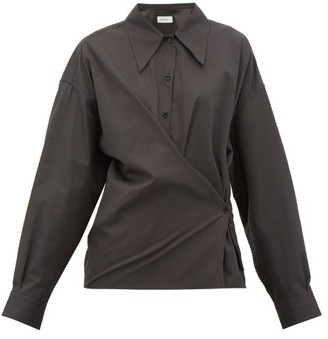 Lemaire Twisted Cotton-poplin Shirt - Womens - Black