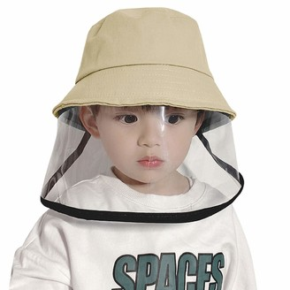 heekpek Kids Bucket Cap Anti-dust Bucket Cap with Clear Face Shield Sun Hat Cotton Cap Baby Bucket Cap Children Boy Girl Fisher Outdoor Sun Beach Cap Infants (Khaki)