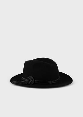 Giorgio Armani Hat With Ornamental Leather