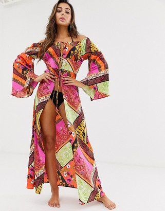 ASOS DESIGN glam off shoulder maxi beach kimono in scarf print