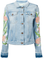 Off-White embroidered tulip denim jacket - women - Cotton/Polyester - XS