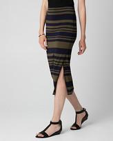 Le Château Stripe Jersey Asymmetrical Midi Skirt
