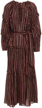 Ulla Johnson Ruffle-trimmed Metallic Striped Cotton And Lurex-blend Gauze Midi Dress