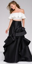 Jovani Off the Shoulder Two Piece All Over Ruffle Evening Dress
