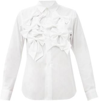 COMME DES GARÇONS GIRL Bow-trimmed Cotton Shirt - White