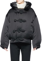 MS MIN Knot rouleau loop button hooded bomber jacket