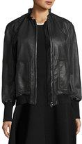 Derek Lam 10 Crosby Ruffled Collar Leather Bomber Jacket, Black