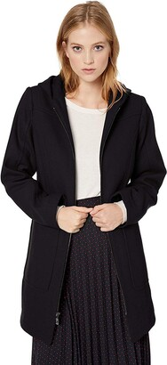 London Fog Women's Zip Front Patch Pocket Thigh Length Wool Coat with Hood