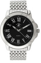 Beverly Hills Polo Club Mens Silver Tone Black Round Dial Bracelet Watches