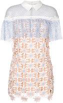 Self-Portrait 3D Floral Cape dress - women - Cotton/Polyester/Spandex/Elastane - 6