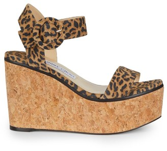 Jimmy Choo Abigail Leopard-Print Leather Cork Wedge Sandals