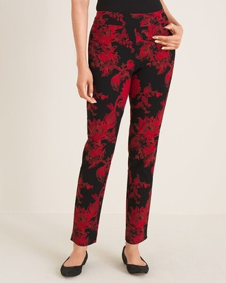 So Slimming Brigitte Floral-Print Slim Ankle Pants