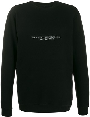 Unravel Project Slogan Print Longline Sweatshirt