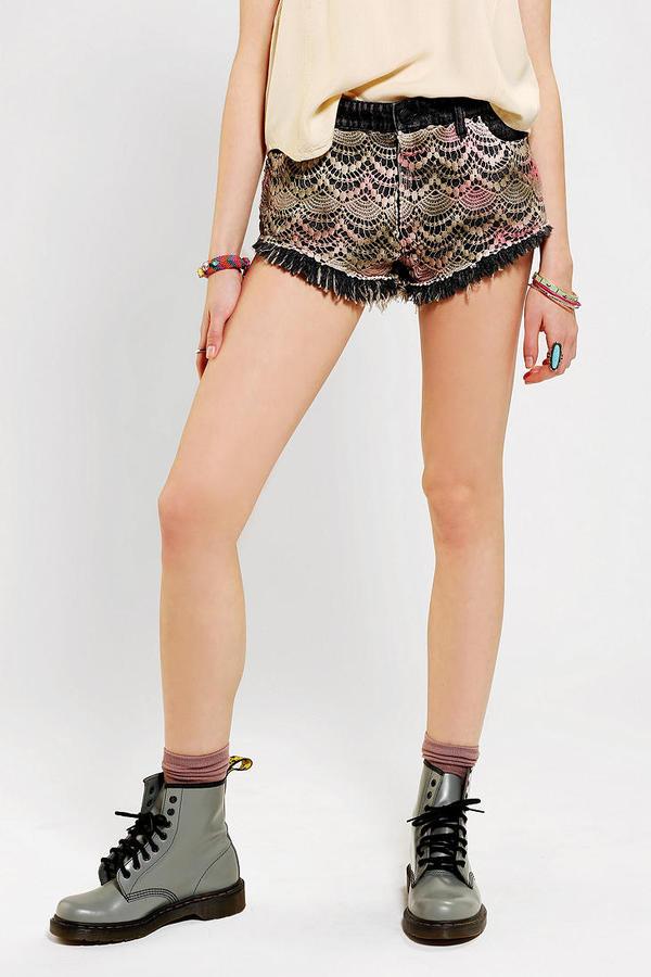 BDG Mia Low & Loose Embellished Denim Cutoff Short