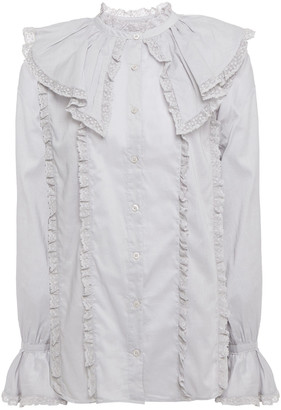 See by Chloe Lace-trimmed Ruffled Cotton-poplin Blouse