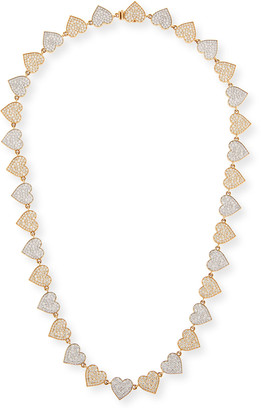 Sydney Evan Two-Tone 14k Gold Diamond Heart Eternity Necklace