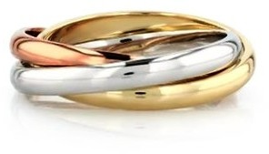 Samie Collection Trinity Russian Rolling Ring Band in Tri Color Gold Plating, 3mm