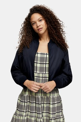 Topshop Womens Petite Navy Bomber Jacket - Navy Blue