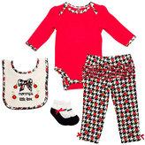 Cutie Pie Baby Red & Black Houndstooth Long-Sleeve Bodysuit Set - Infant
