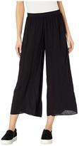 Hard Tail Pull-On Wide Racer Stripe Crop Pants (Black) Women's Casual Pants