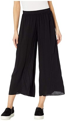 Hard Tail Pull-On Wide Racer Stripe Crop Pants (Black) Women's Casual Pants