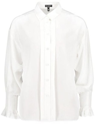 Escada Nehoma Puff-Sleeve Silk Crepe de Chine Blouse