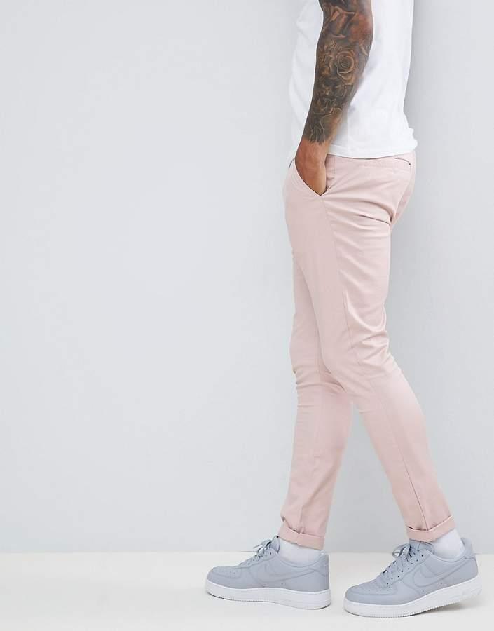 Asos Design Super Skinny Chinos In Ice Pink