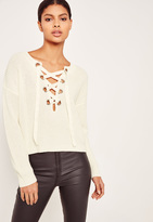 Missguided Chunky Eyelet Lace Up Sweater Cream