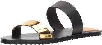 Bill Blass Women's Juliet Flat Sandal Black/Gold 7.5 Medium US