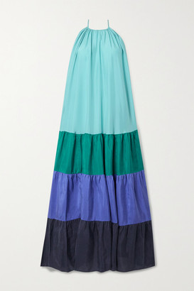 Vanessa Bruno - Nuccia Tiered Color-block Washed Silk-satin Maxi Dress - Teal