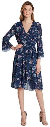 Tahari ASL Petite Smocked Wrap Dress (Navy/Pink Lilac) Women's Dress