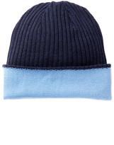 Portolano Notte & Malibu Blue Wool Reversible Beanie
