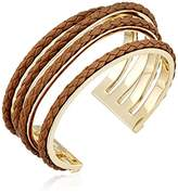 """Cole Haan Leather Items"""" Brown Inlay Wavy Cuff Bracelet"""