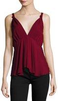 Nicole Miller Artelier Silk V-Neck Camisole Top, Oxblood