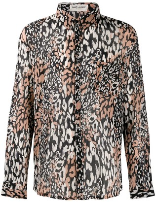 Saint Laurent Leopard Print Long-Sleeved Shirt