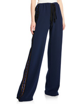 Naeem Khan Lace Side-Striped Track Pants