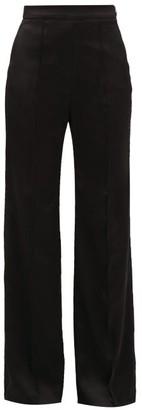 Peter Pilotto High-rise Satin Wide-leg Trousers - Black